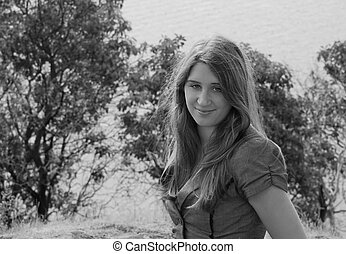 Pretty Teen Black and White Photo Outdoors