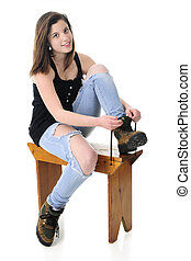 Pretty Teen Girl Donning Work Boots