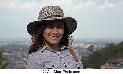 Pretty Teen Girl Wearing Hat