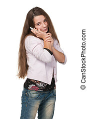 Pretty teen girl with a cell phone