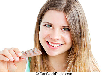 pretty teenager holding chocolate