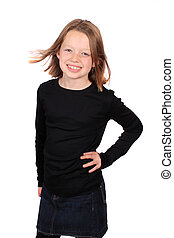 Pretty Ten year old girl - Confident healthy and smiling ten...