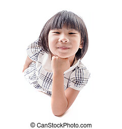 Pretty the little girl lies on the white. It is isolated on a white background