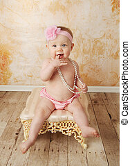 Pretty toddler girl - Adorable young baby girl wearing a...