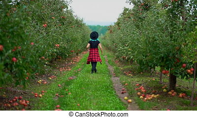 Pretty unusual woman with blue dyed hair walking alone between trees in apple garden at autumn season. Girl goes ahead away from camera. Organic, nature concept. High quality FullHD footage