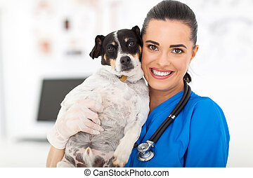 veterinary nurse holding dog - pretty veterinary nurse...
