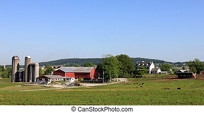 Scenic view of silos, cattle and farmhouse on rural country fields under warm sunshine.