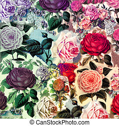 Pretty Vintage Floral Collage Composition