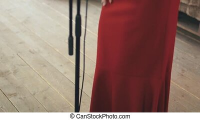 Pretty vocalist in red dress with bright make up perform at microphone. Dance