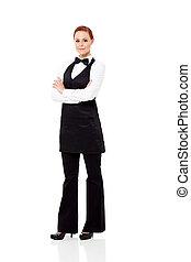 pretty waitress full length portrait