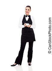 pretty waitress taking orders