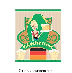 Pretty waitress with beer, Oktoberfest card