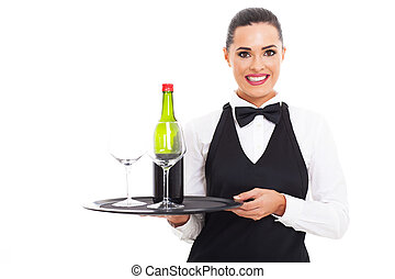 pretty waitress with wine and glass
