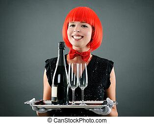 pretty waitress with wine