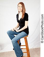 Pretty white woman smiling joyfully