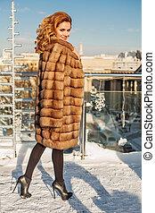 Pretty winter girl outdoor portrait