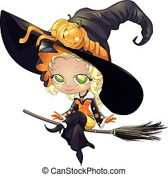 pretty witch on a broom
