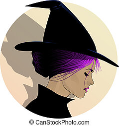 Pretty Witch Profile - Woman with pink hair wearing a witch...
