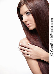 Pretty woman - A pretty girl with long hair isolated