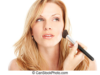 make up - Pretty woman applying make up. Isolated over white...