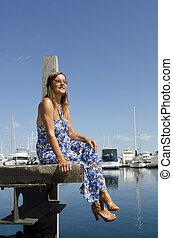 Pretty woman at marina