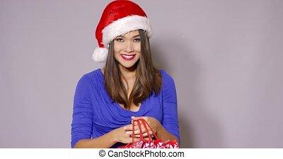 Pretty woman doing her Christmas shopping