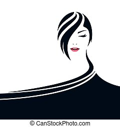 Pretty woman face illustration with cape symbol