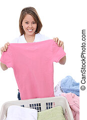 Pretty Woman Folding Clothes