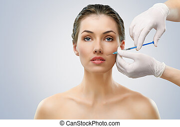 botox injection - pretty woman getting botox injection