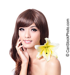 Pretty woman hand touch face with smile