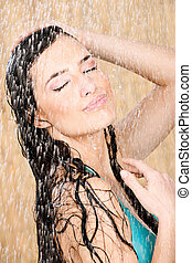 woman having a shower