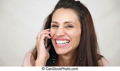 Pretty Woman Hold Mobile Phone and Talking