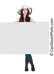 Pretty Woman Holding Blank Placard