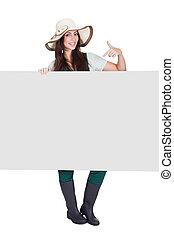 Pretty Woman Holding Blank Placard