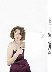 Pretty woman holding blank sign