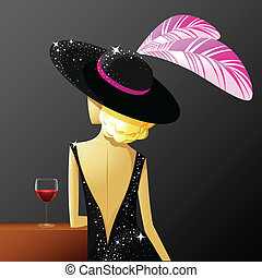 illustration of pretty woman standing with glass of drink