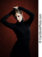 Pretty Woman in a Black Dress