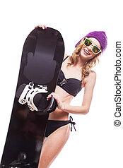 pretty woman in bikini with snowboard