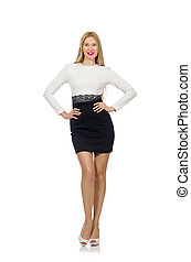 Pretty woman in black and white dress isolated on white