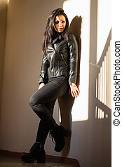 Pretty woman in black clothes