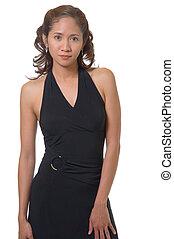 Pretty woman in black dancing dress