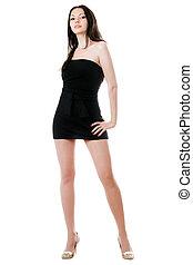 Pretty woman in black dress with teddy-bear