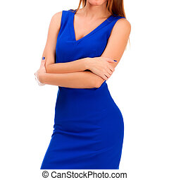 Pretty woman in blue dress posing against white background, isolated