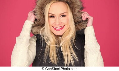 Pretty Woman in Fashion with Furry Hood