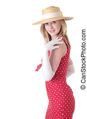 Pretty woman in fifties style dress