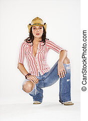 Pretty woman in hat.