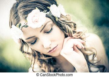 pretty woman in nature