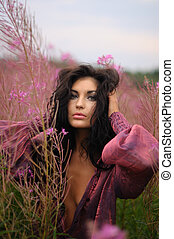 Pretty Woman In Pink Blouse