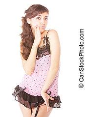 Pretty woman in pink dress