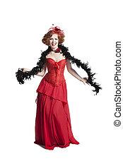 Pretty woman in red carnival dress